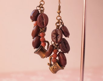 Coffee beans earrings with little cups and aventurine beads Coffee lovers