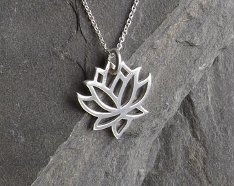 Sterling silver Lotus necklace / Sterling Yoga charm necklace / Sterling lotus pendant / Sterling Silver chain