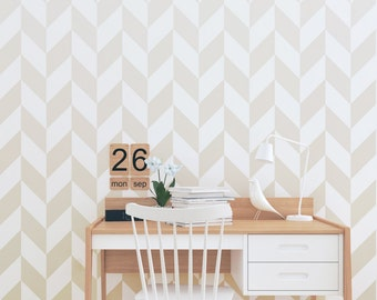 Ombre Herringbone Wallpaper / Traditional or Removable Wallpaper L035