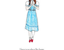Dorothy Does Yoga, Wizard of Oz art print, book quote, there is no place like home, ruby slippers, inspiration, dorothy wall art, yoga pose