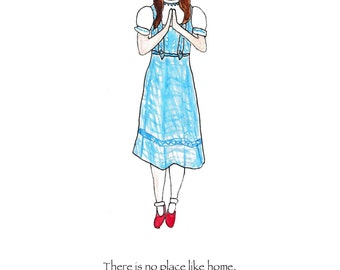 Dorothy Yoga Print, Wizard of Oz art print, book quote, there is no place like home, ruby slippers, inspiration, housewarming, yoga pose