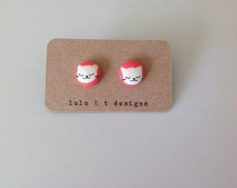 Cat earrings, cat fabric covered button earrings 1 pair