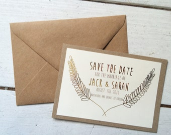 save the date, gold foil, boho wedding invitation, rustic wedding invitation, boho save the date, boho wedding, save the date stamp