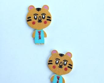 Tiger Button Blue Shirt Embellishment - 25 mm Button Animal Button- Craft Scrapbooking Notion Craft Supplies Wood Buttons- Flat Back Buttons