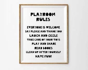 Playroom rules, 8 x 10, 11 x 14 in, Childrens wall art, Black and white art, Playroom printable, Playroom decor, Digital print