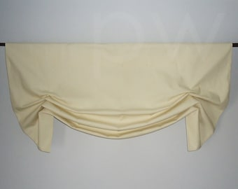 Custom Ivory Window Valance in Canvas Cotton Faux Shade