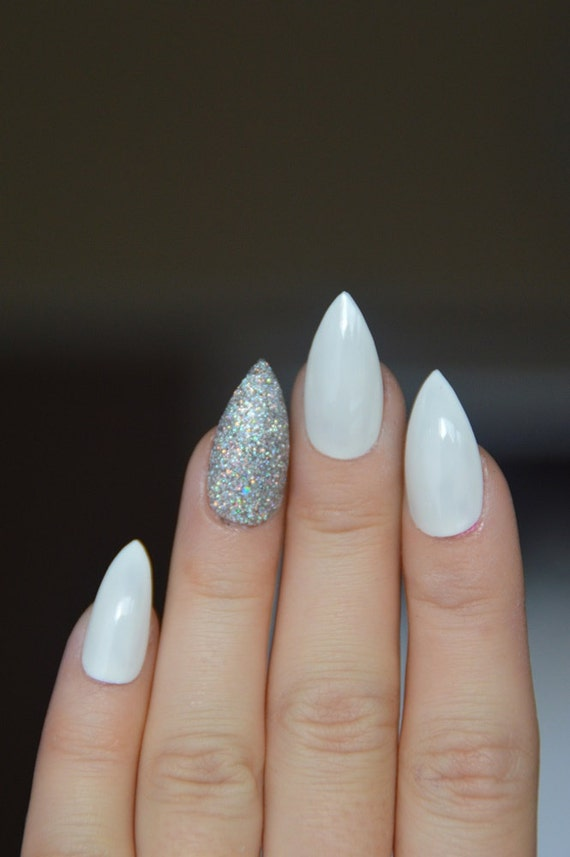 items similar to white and silver stiletto nails sparkly
