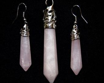 Rose Quartz Earrings & Necklace Set, Earrings, Necklace, Jewelry Set, Quartz Gemstone, Rose Quartz, Gifts for Women, Fashion Earrings, Pink
