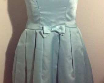 1960s Womens Blue Satin Bridesmaid/ Special Occasion/ Party/ Christmas/ Holiday Dress Size M