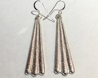Tufa Cast Sterling silver earrings, Navajo jewelry by Monty Claw