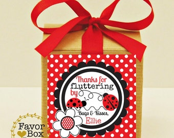 LADYBUG Party Favors, 12 Favor Boxes, Ribbon and Personalized Labels, Ladybug Birthday Favors,Ladybug Baby Shower, Ladybug Party Favor Box