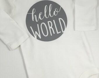 Hello World Baby Bodysuit - One Piece - New Infant