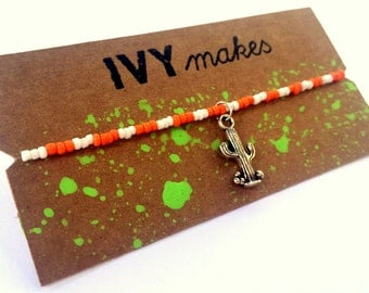 Orange & White Cactus Bracelet