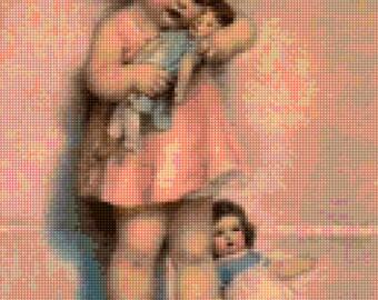 Bessie Pease Gutmann 'Love is Blind' Vintage Baby and Dolls Cross Stitch pattern PDF - Instant Download!