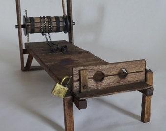 Request a custom dollhouse miniature wooden torture rack, 1:12 scale castle dungeon
