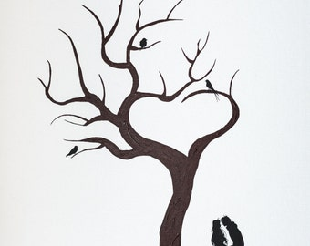 """Tree """"trunk heart and couple"""" prints"""