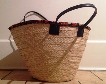 African hand woven market basket, market tote, fabric/leather handle details