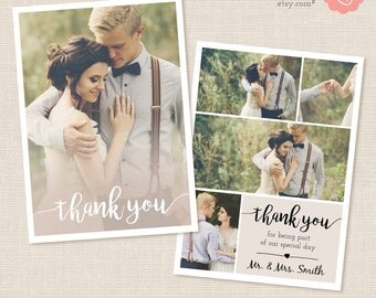 Thank You Card Template, Thank You Printable, Photography Templates, Photoshop Templates for Photographers, PSD template, collage card