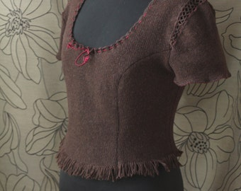 Women's  Knitting Sweater ,Renaissance Sweater, Wool Sweater,  Brown Sweater