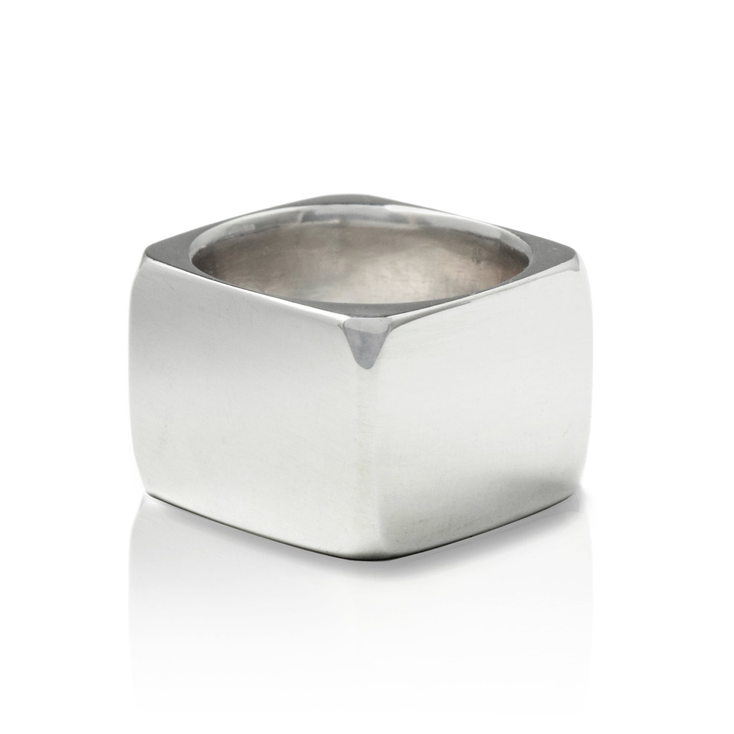 square solid sterling silver ring mens