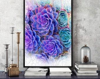 Succulent print, purple succulent art print, succulent download, succulent plant print, cactus print, cacti wall art