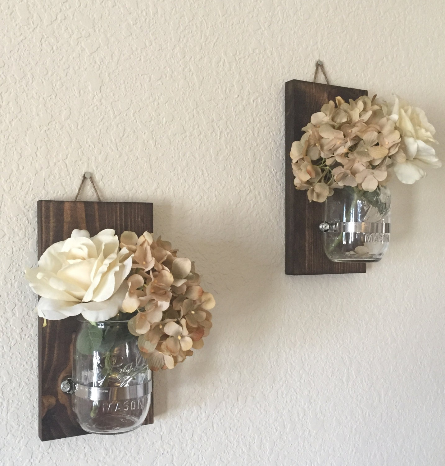 Rustic Mason Jar Sconces Rustic Candle Holders Mason Jar Etsy