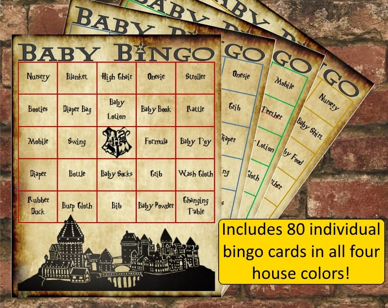harry potter baby shower bingo