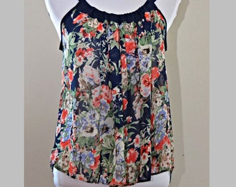Top, Soft Chiffon blouse , Red flowers, Navy Blue bow, sheer  top for summer