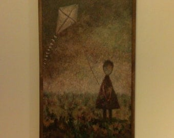 A girl with a kite. Acrylic painting on canvas. Artistic pictures for your wall
