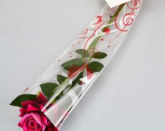 Handmade Beautiful Valentines Single Silk Dark Pink Artificial Rose