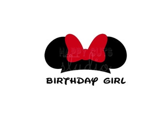 Birthday Girl or Boy/ Mickey and Minnie Mouse Ears with Bow Party Classic Matching Cheer Squad Disney Iron On Decal Vinyl for Shirt 157