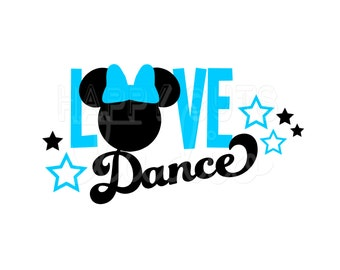 Love Dance Vinyl Decal / Dancer Mom Mickey Minnie Mouse Ears Dots Bow Stars Disneyland Team Pink Disney Iron On Shirt Bag Competition 029
