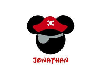 Personalized Pirates Caribbean Hat Mickey Mouse Matching Family Father Son Husband Disney Cruise Disney Iron On Decal Vinyl for Shirt 038
