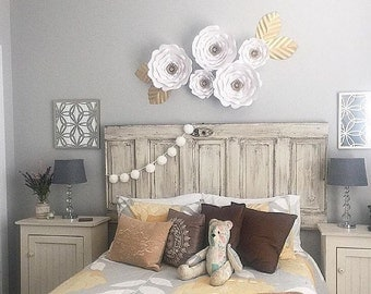 5 piece white and gold paper flowers, room decor