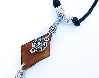 Brown seaglass pendant «Hildegarde»