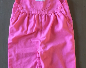 Vintage Baby Girl's Liberty Pink Overalls - 18 months