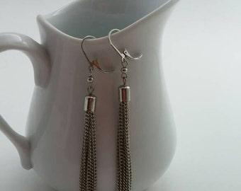 Silver metal tassle chandelier earrings