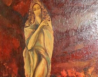1982 European surrealist oil painting signed