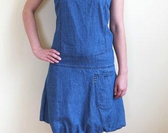 Vintage Denim Dress, Sleeveless Denim Dress, Jeans Sarafan, Denim Sarafan, Size S