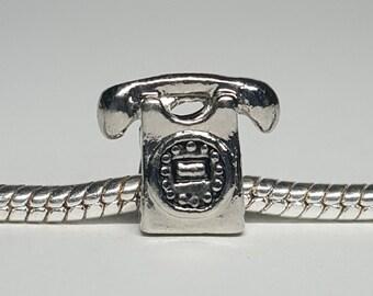 Silver Telephone Charm for European Bracelets (item 118)