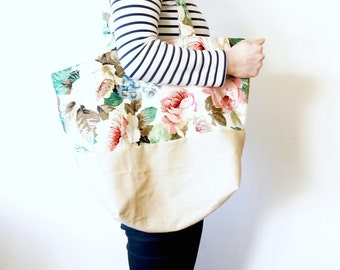 Beige Canvas & Floral Cotton Satin Extra Large Fabric Tote Bag / Beach Bag / Yummy Mummy Bag / Hobo Bag