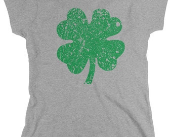 Four Leaf Clover Ladies T-shirt, Lucky Charm, 4 Leaf Clover, Funny St Patricks Day Shirts, Women's St. Patrick's Day Shirts, AMD_1081