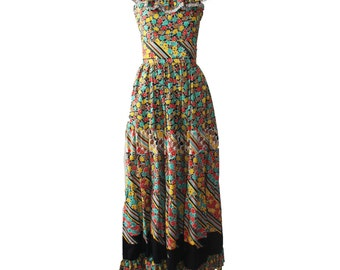 Vintage Victor Costa Floral Multi Color Maxi Dress 1970s