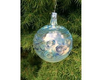 Handblown glass Christmas ornament - Clear and blue with silver fuming