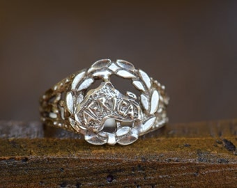 Mens Africa Decorative Vintage 925 Silver Ring, US Size 11.75, Used