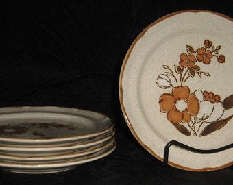 """Autumn Fair Baroque Hearthside Stoneware 7-1/2"""" Plates"""