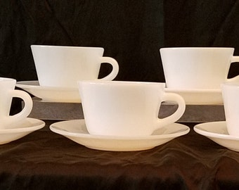 Set of 5 Fire King Cups and Saucers