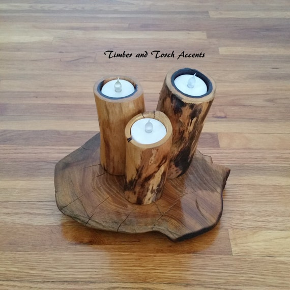 Wood tea light holder rustic wedding