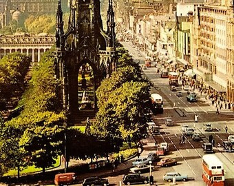 Vintage British Postcard, Scott Monument, Princes Street, Edinburgh, Scotland, Vintage Cars, Vintage Bus, Double Decker Bus, Unposted