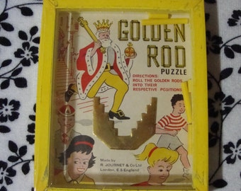Vintage R. Journet & Co. 'Golden Rod' Dexterity Game Puzzle